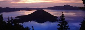 View over Wizard Island, at sunrise,Crater Lake National Park,Oregon,USA