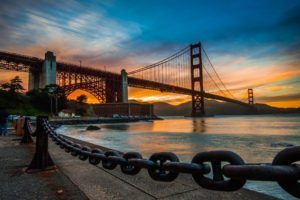 Golden Gate Bridge at Sunset, California
