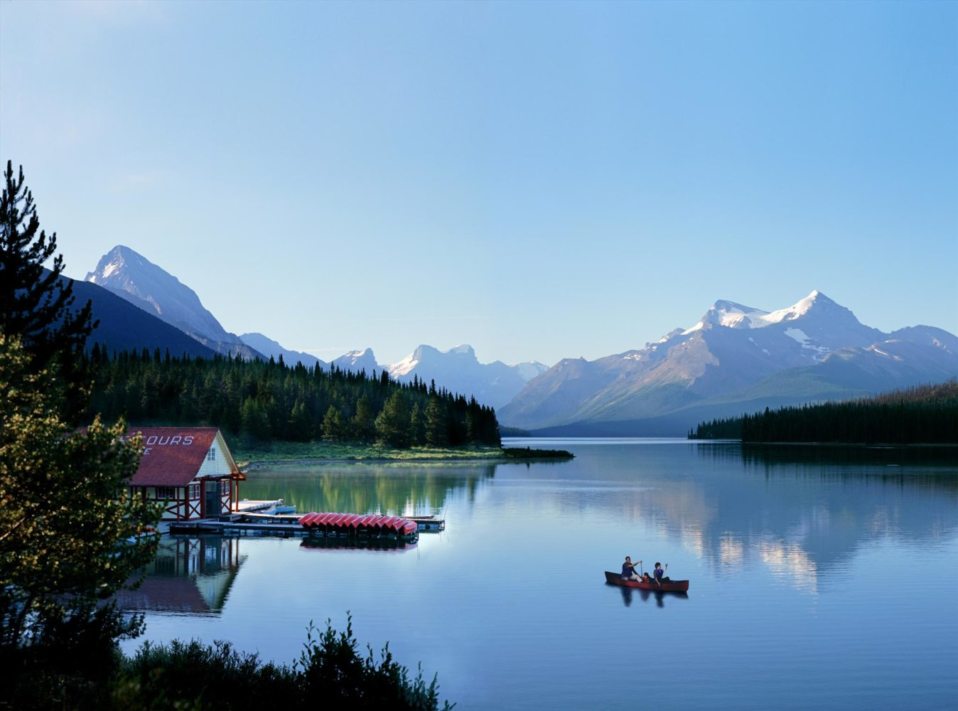 Canoeing, Maligne Lake, Jasper National Park