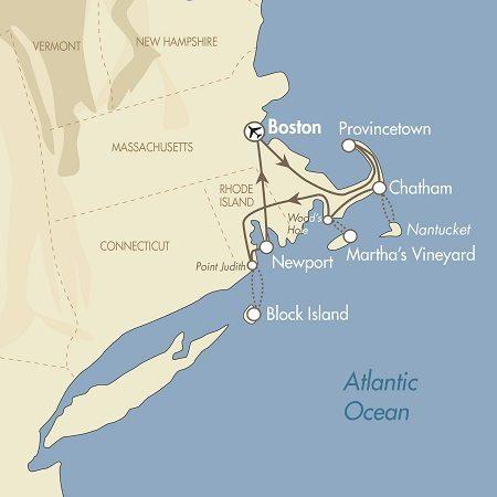 Boston, Cape Cod, Newport & The Islands map