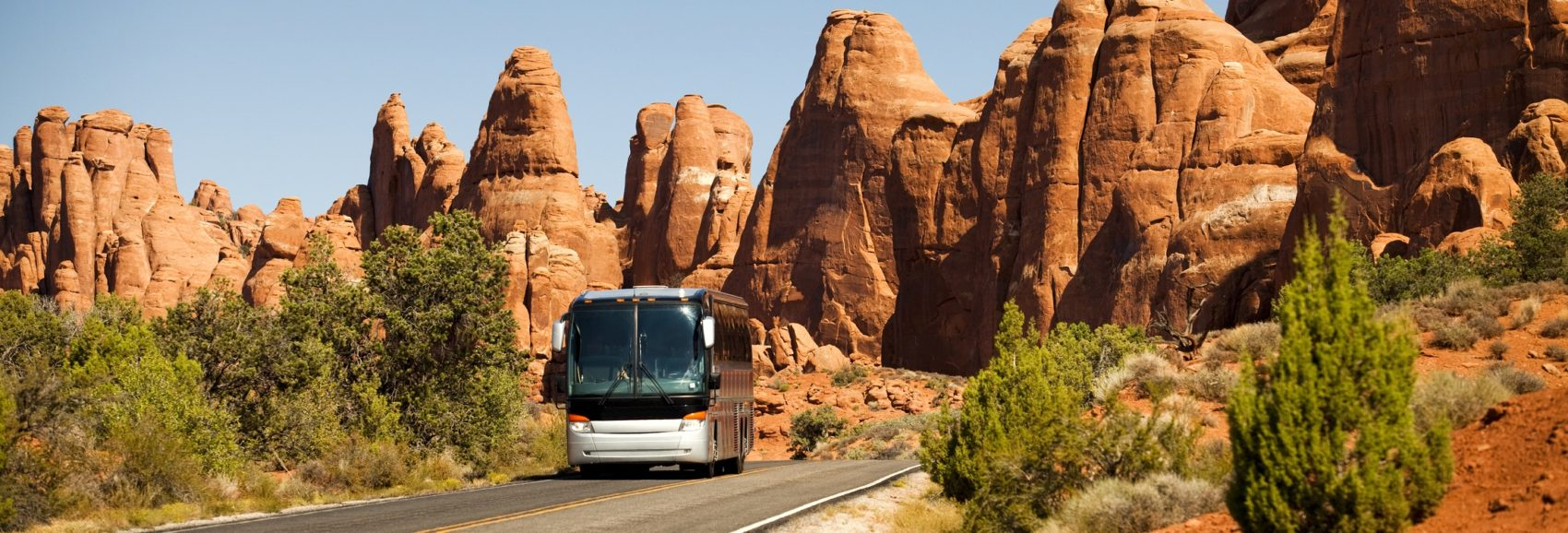 Southwest USA red rock landscape escorted tour in Arches National Park near Moab Utah