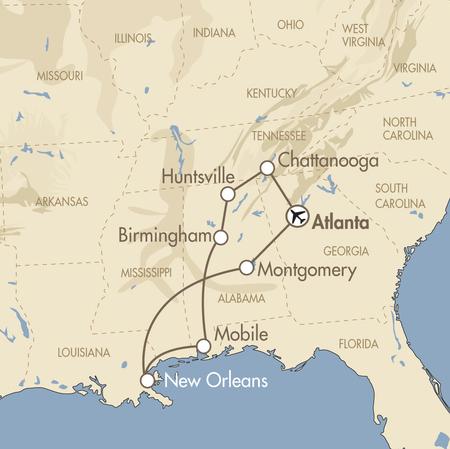 Alabama fly drive map