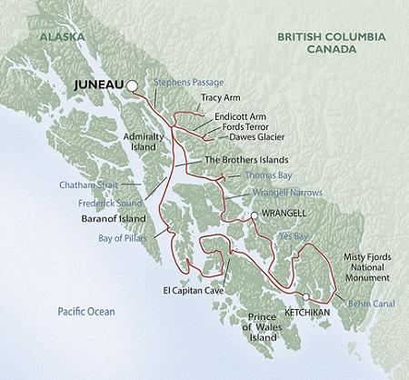 Frederick Sound Alaska Map.Alaska Small Ship Cruise Holiday Complete North America