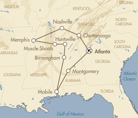 Bama, Blues and Bands map