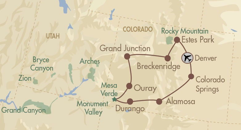 Colorado Brewery Tour map