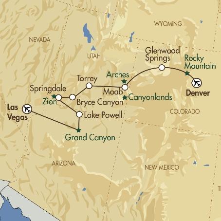Denver Canyonlands and Las Vegas map