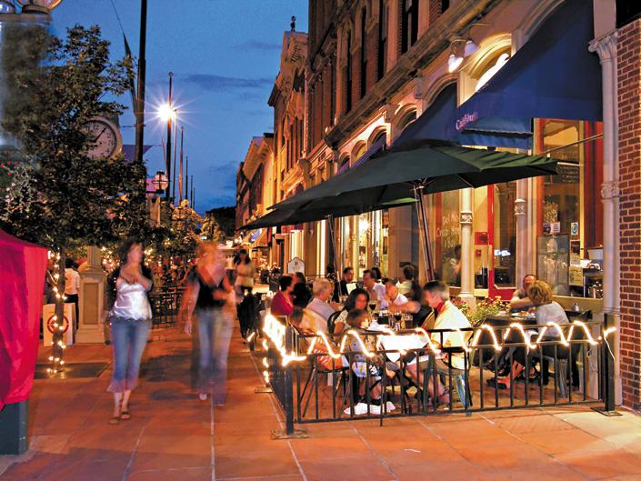 Larimer Square at night, Denver