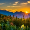 New England fall foliage sunset