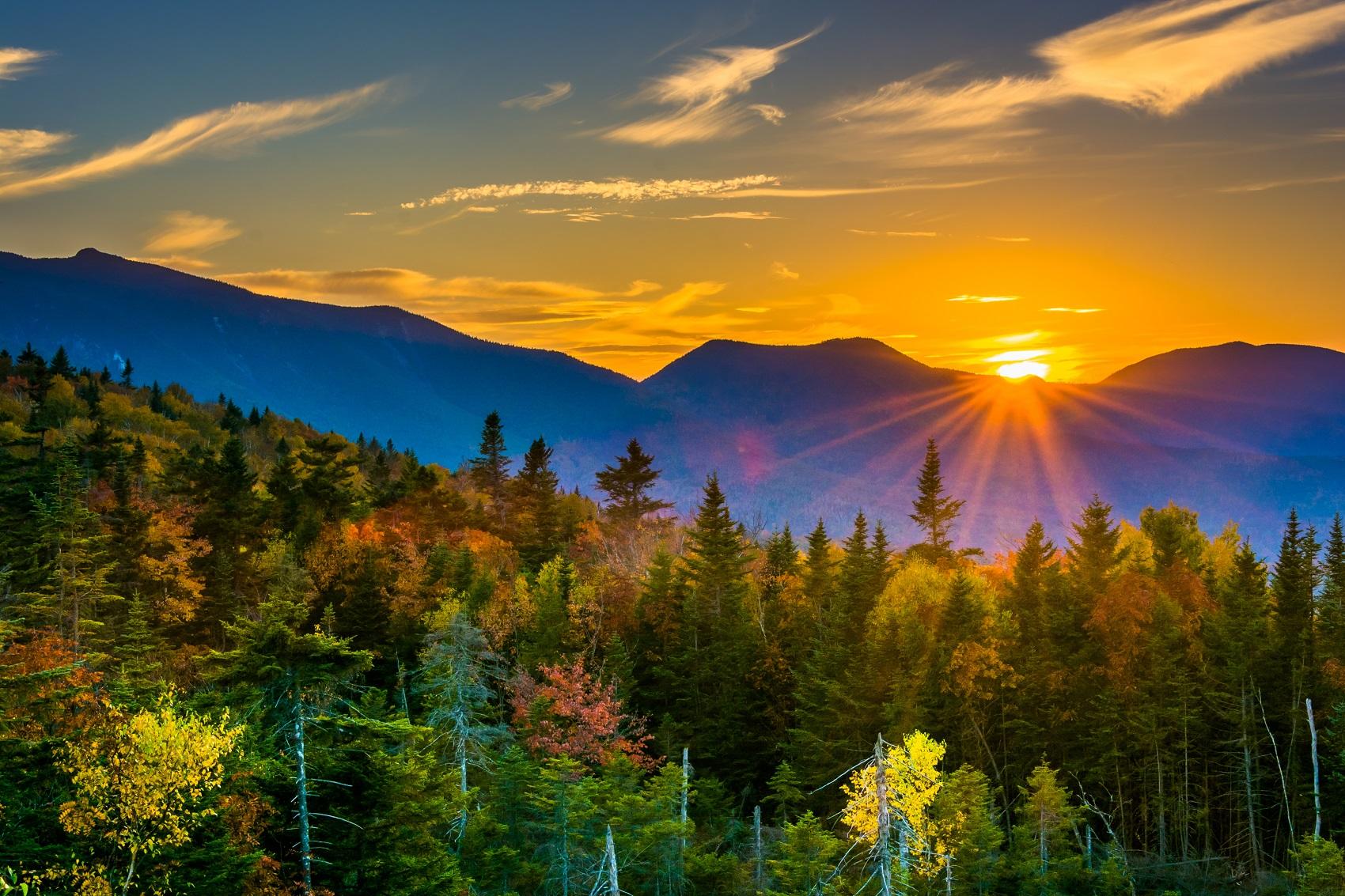 New England fall foliage sunset