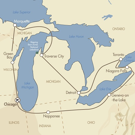Great Lakes of North America Map