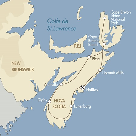 Nova Scotia fly drive map