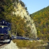 Train travelling through the mountains in West Virginia