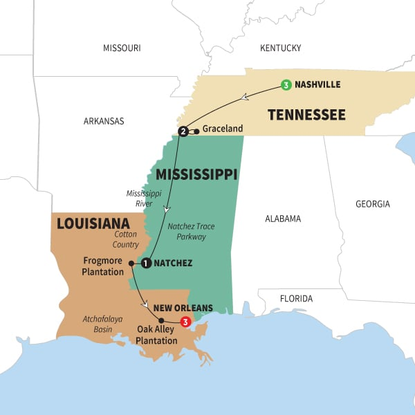 Tastes and Sounds of the South Escorted Tour Map