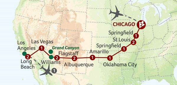 Historic Route 66 Escorted Tour Map