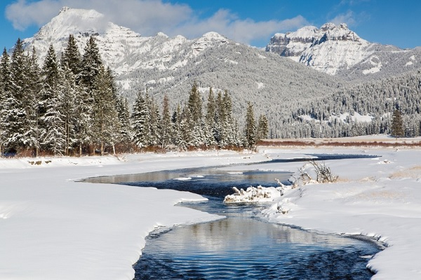 Winter lake in Yellowstone National Park